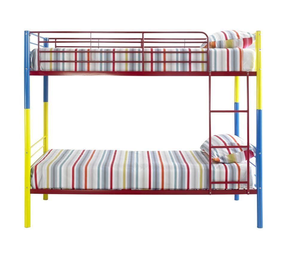 Rainbow Multi Coloured Metal Kids Bunk Bed