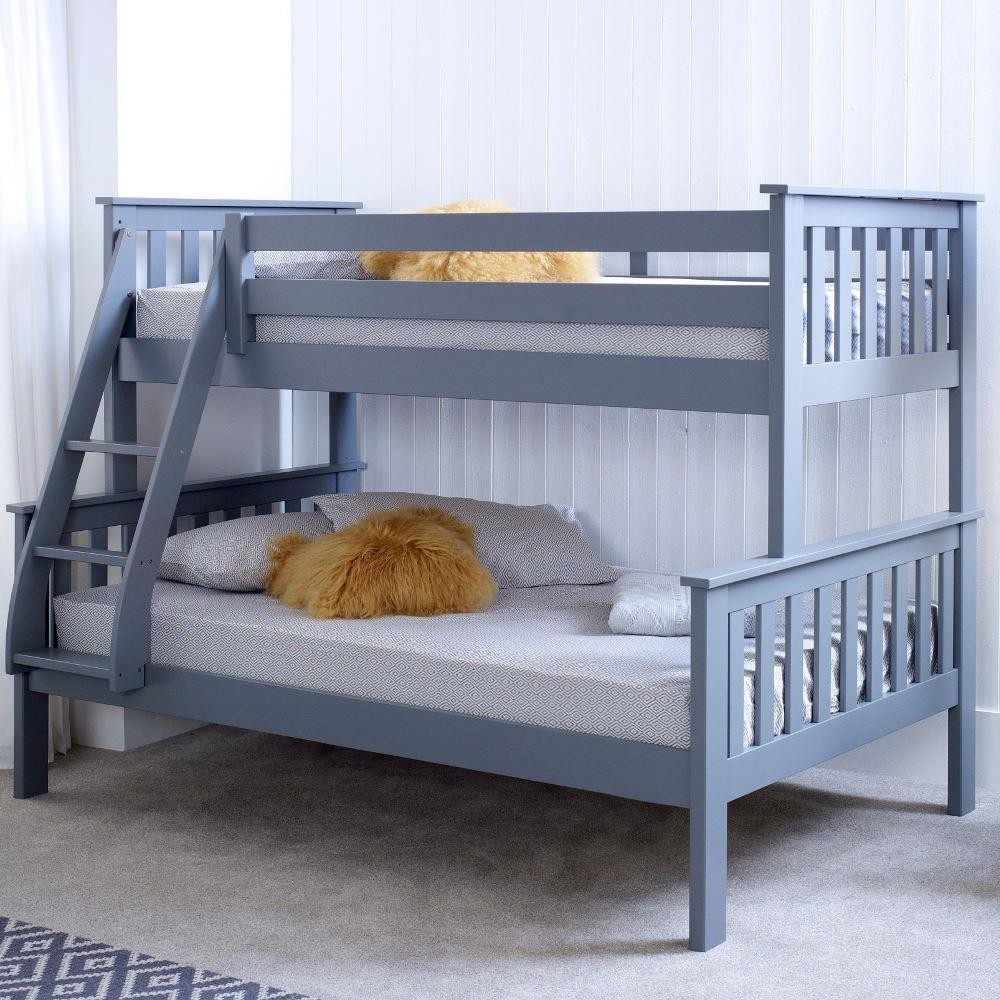 Atlantis grey wooden triple sleeper bed frame for Bunk bed with double on bottom