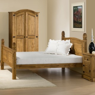 Corona High Foot End Waxed Solid Pine Wooden Bed