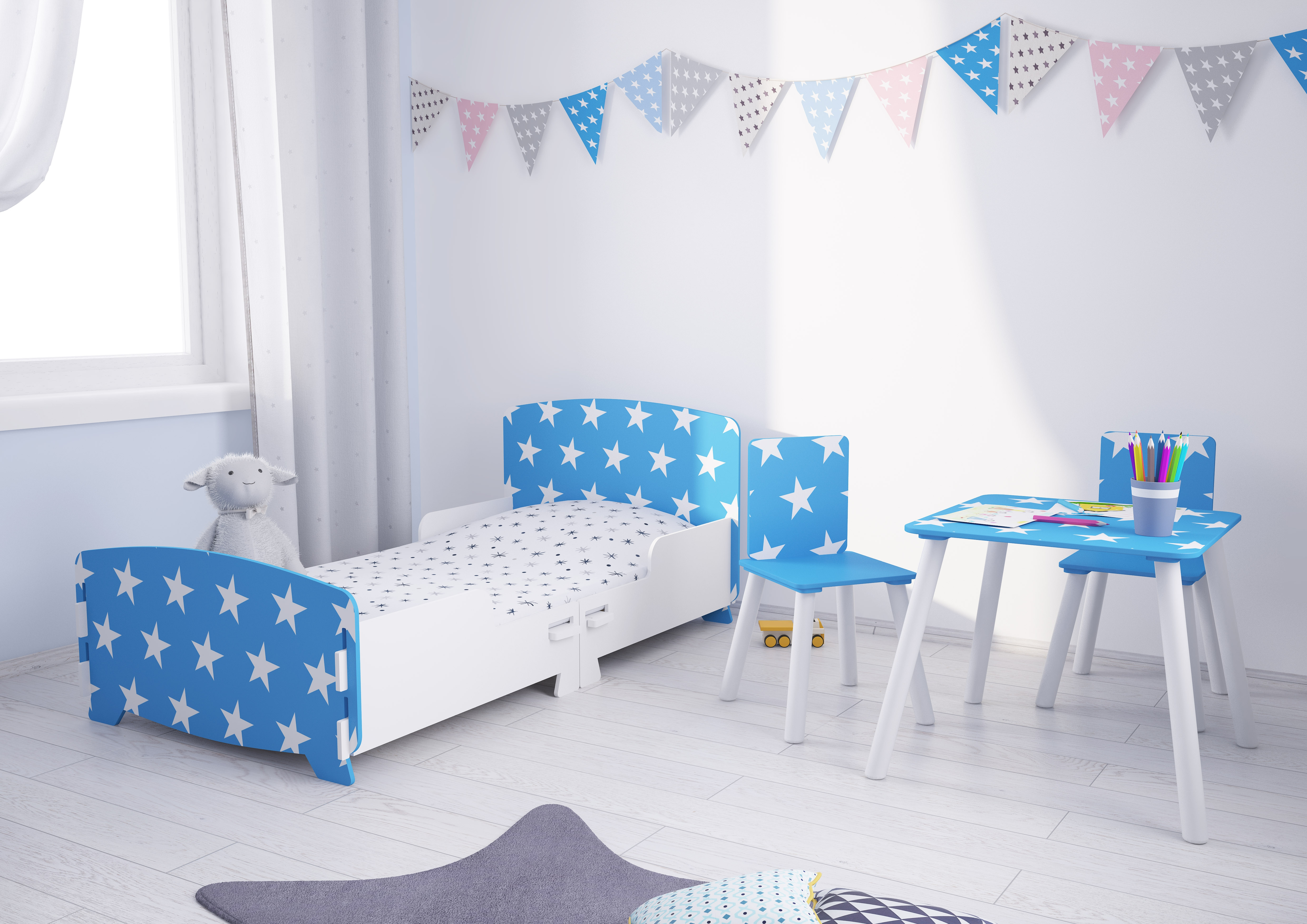 Star Blue and White Children's Bedroom Furniture Collection