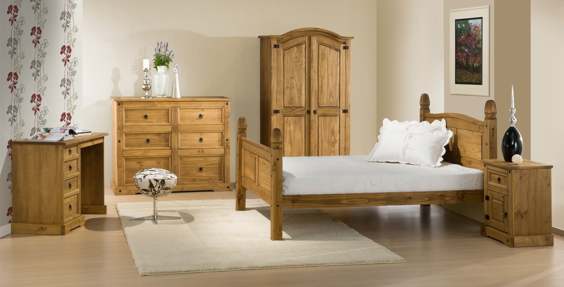 Corona Pine Wooden Bedroom Furniture Collection