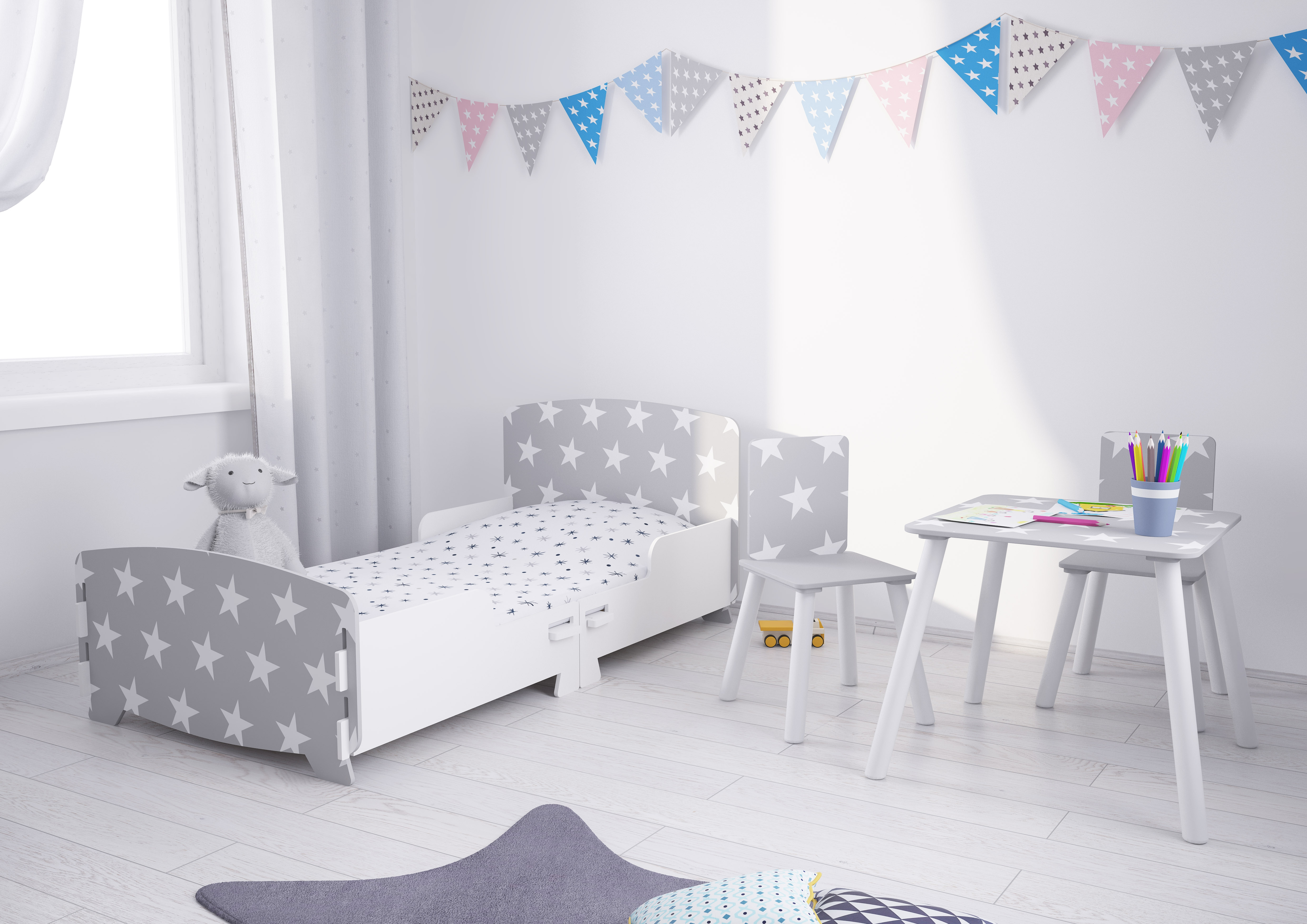 Star Grey and White Children's Bedroom Furniture Collections