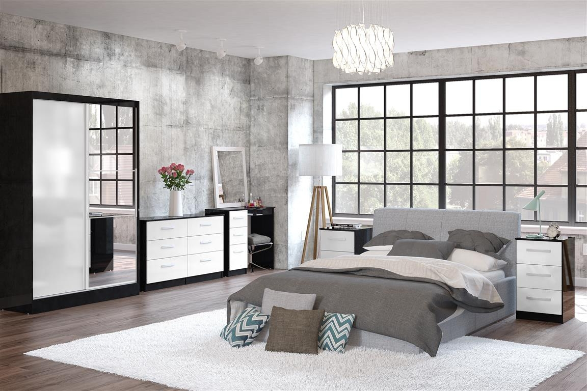 Lynx White and Black Wooden Bedroom Furniture Collection