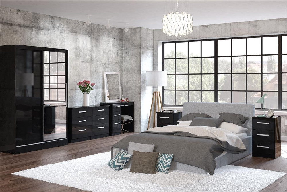 Lynx Black Wooden Bedroom Furniture Collection