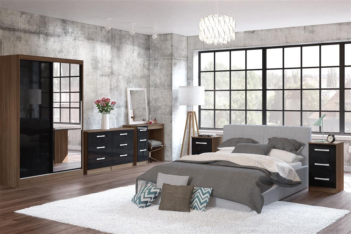 Lynx Walnut and Black Wooden Bedroom Furniture Collection