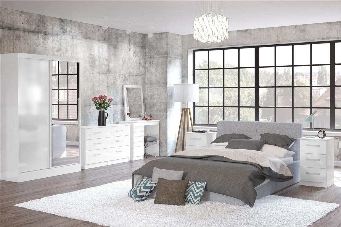 Lynx White Wooden Bedroom Furniture Collection