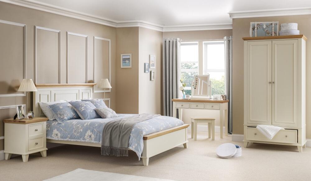 Portland Stone White And Oak Wooden Bedroom Furniture