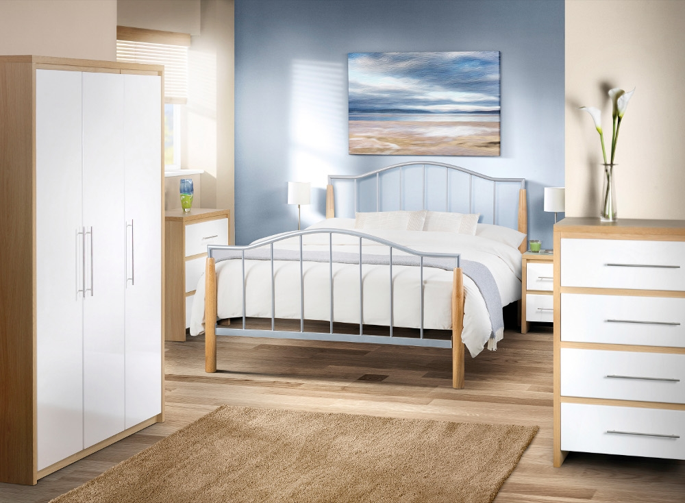 Stockholm Gloss White and Oak Bedroom Furniture Collection
