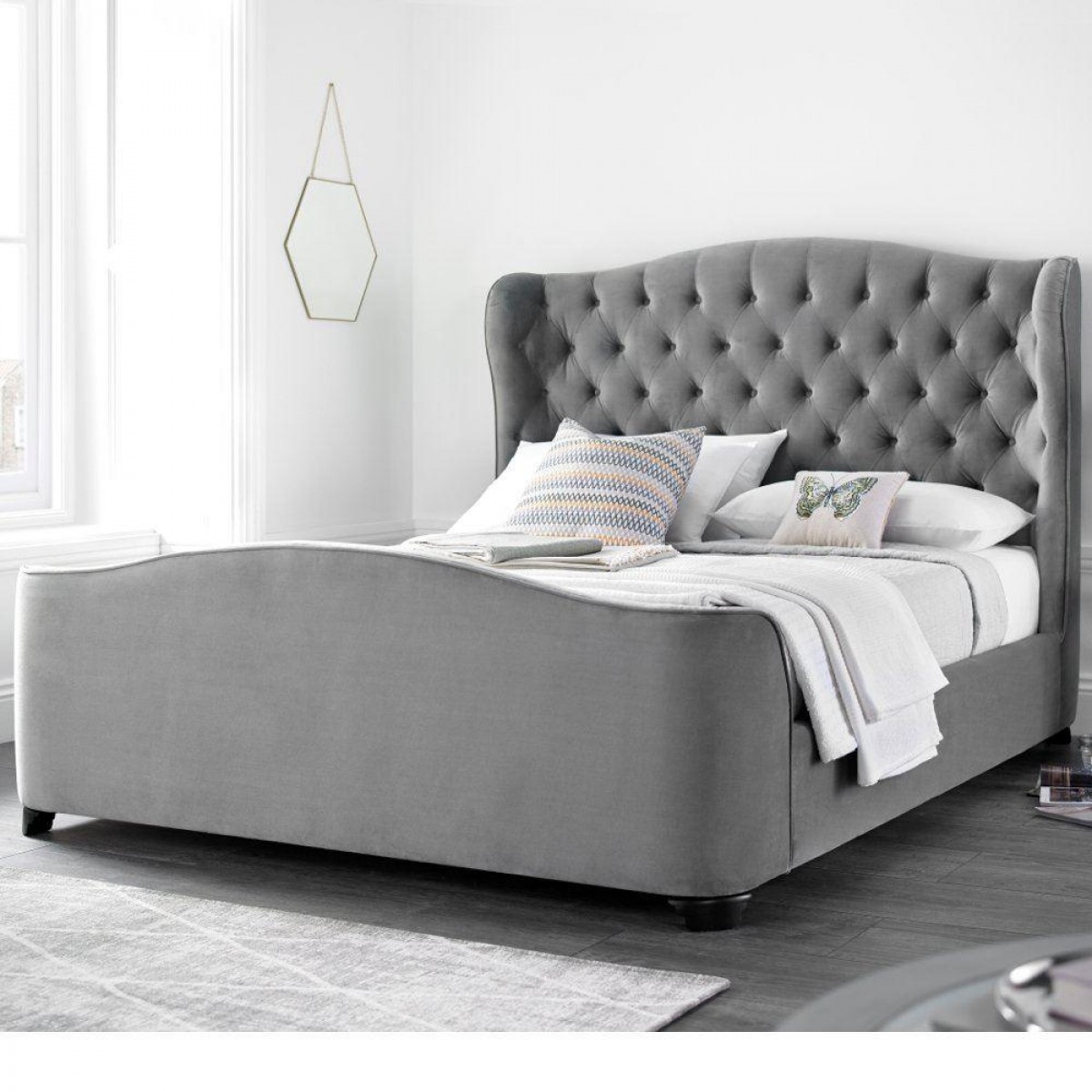 Duchess Grey Velvet Fabric Winged Bed