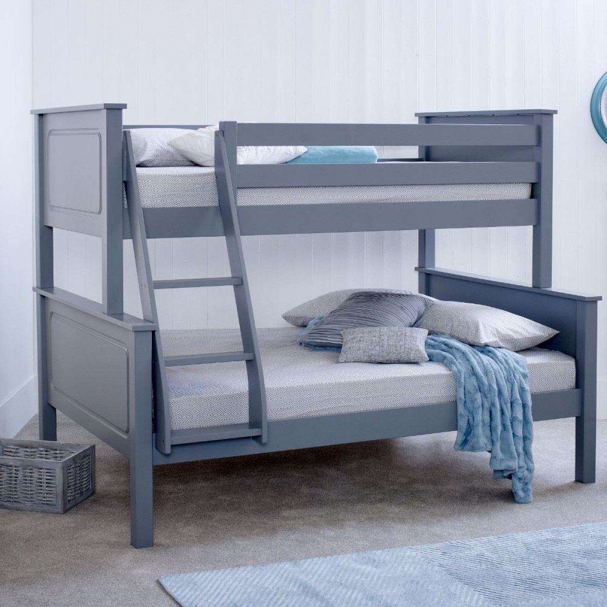 Vancouver Grey Solid Pine Wooden Triple Sleeper
