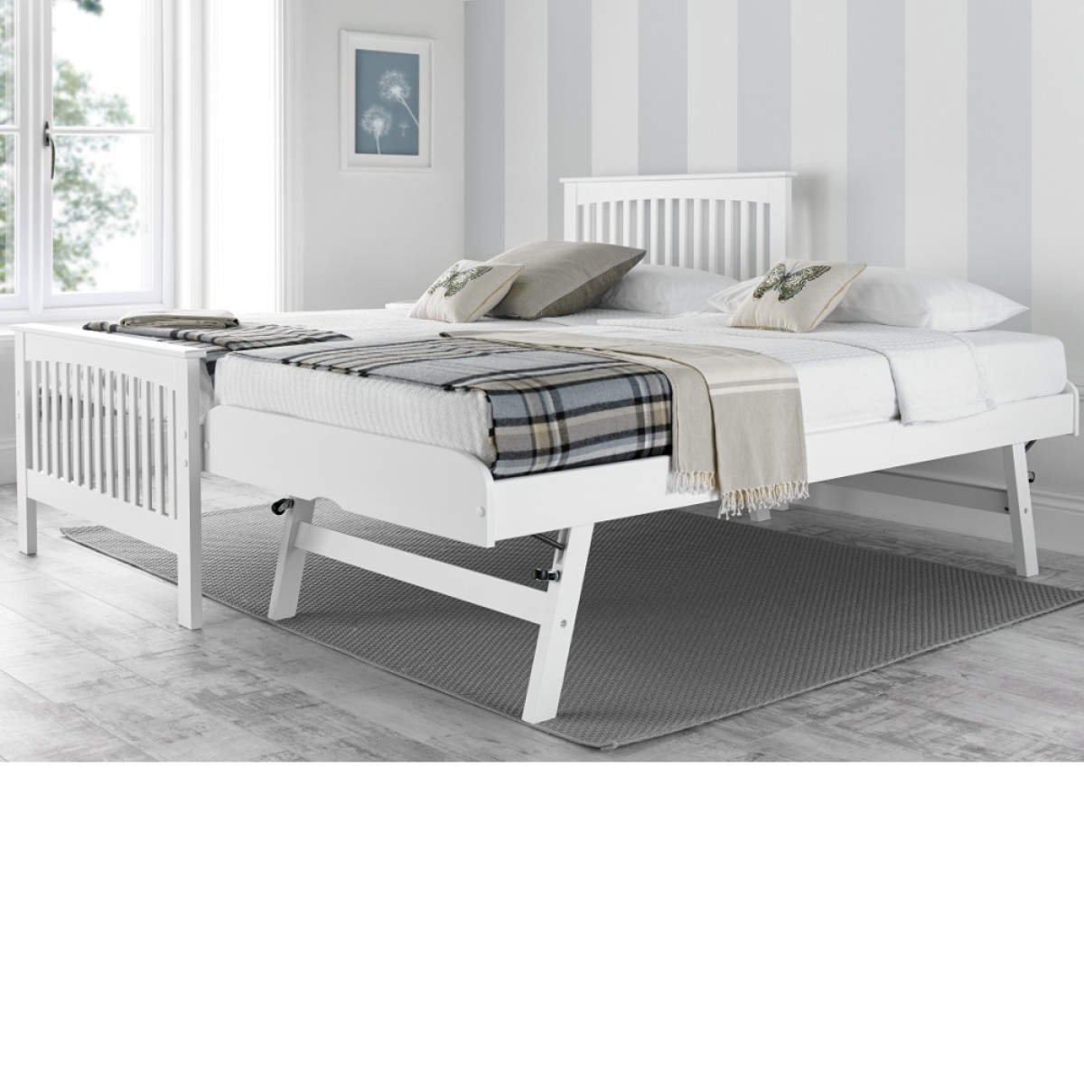 toronto white wooden guest bed and trundle 3ft single 17073 | amelia white wooden guest bed 1