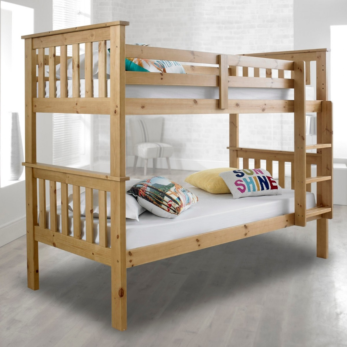 Atlantis solid pine wooden bunk bed for Strong wooden beds