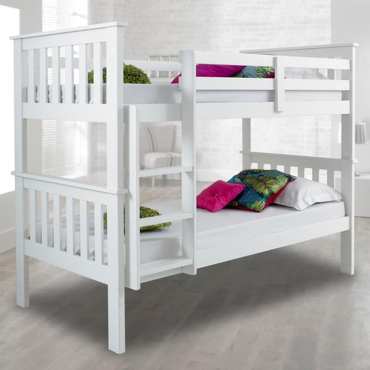 atlantis white finish solid pine wooden bunk bed. Black Bedroom Furniture Sets. Home Design Ideas