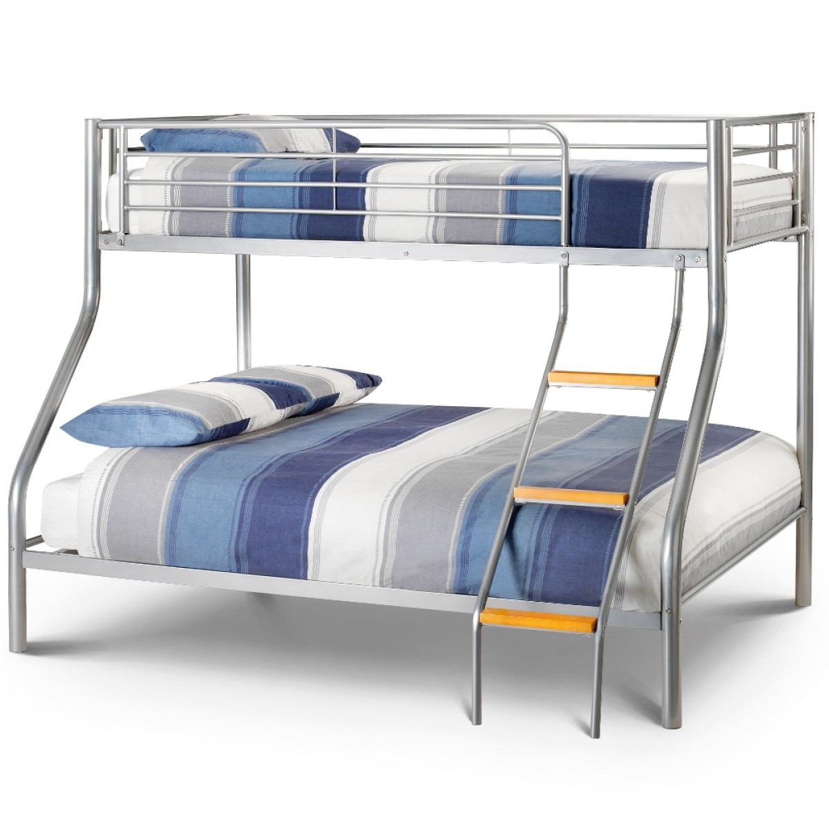 Atlas Silver Finish Metal Triple Sleeper Bunk Bed