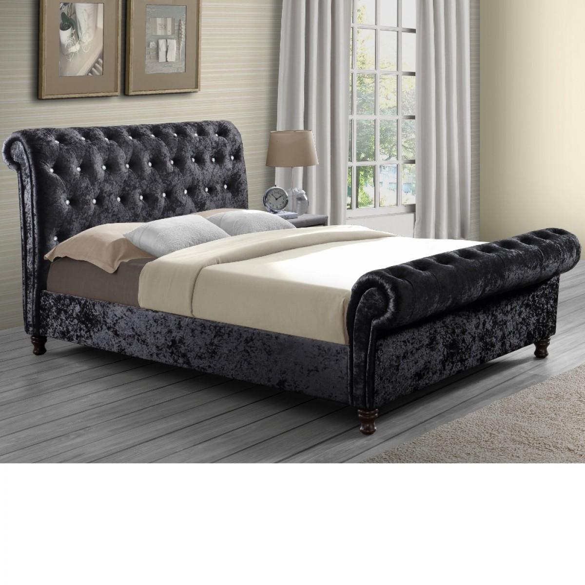 Bordeaux Black Velvet Fabric Scroll Sleigh Bed