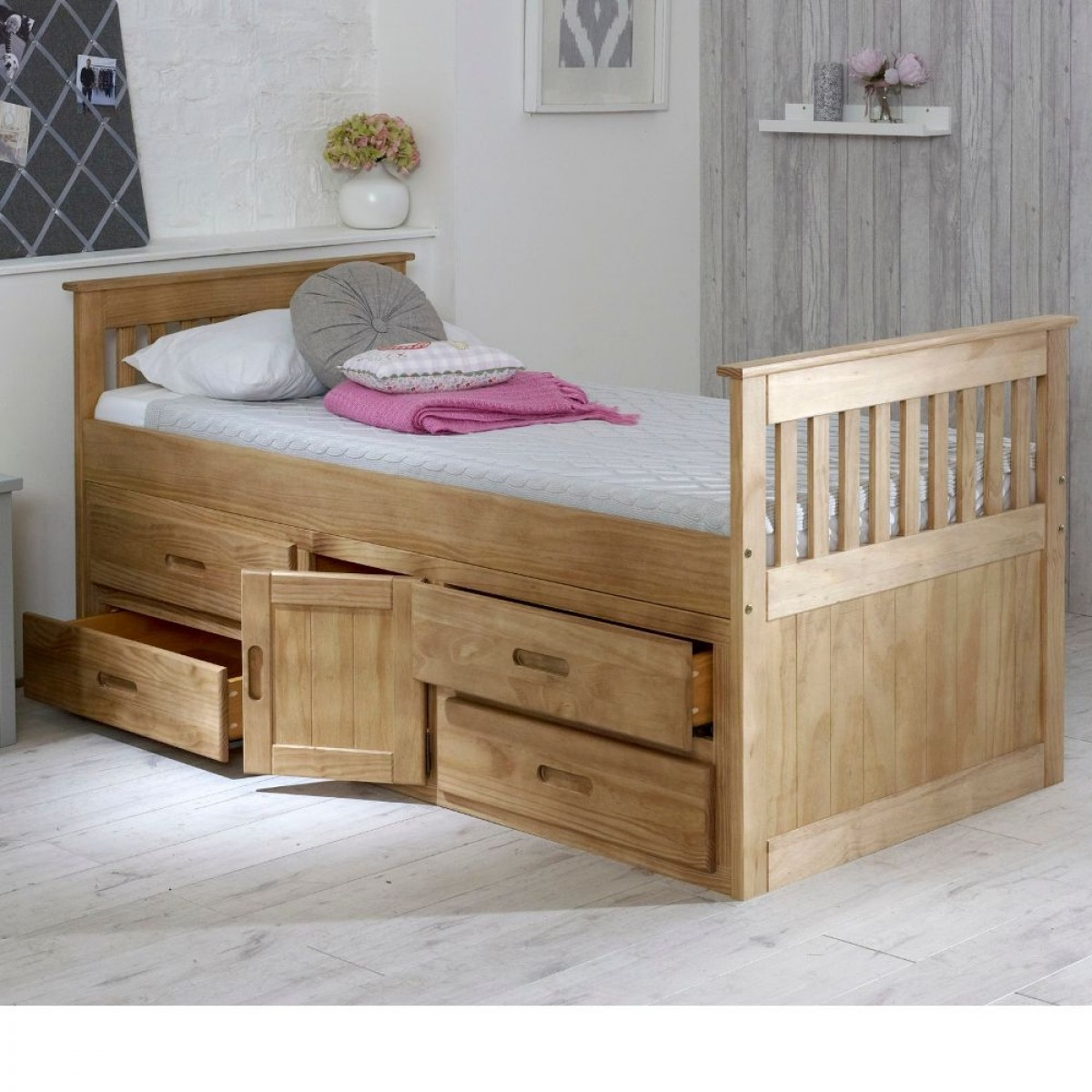 captains waxed pine wooden storage bed. Black Bedroom Furniture Sets. Home Design Ideas