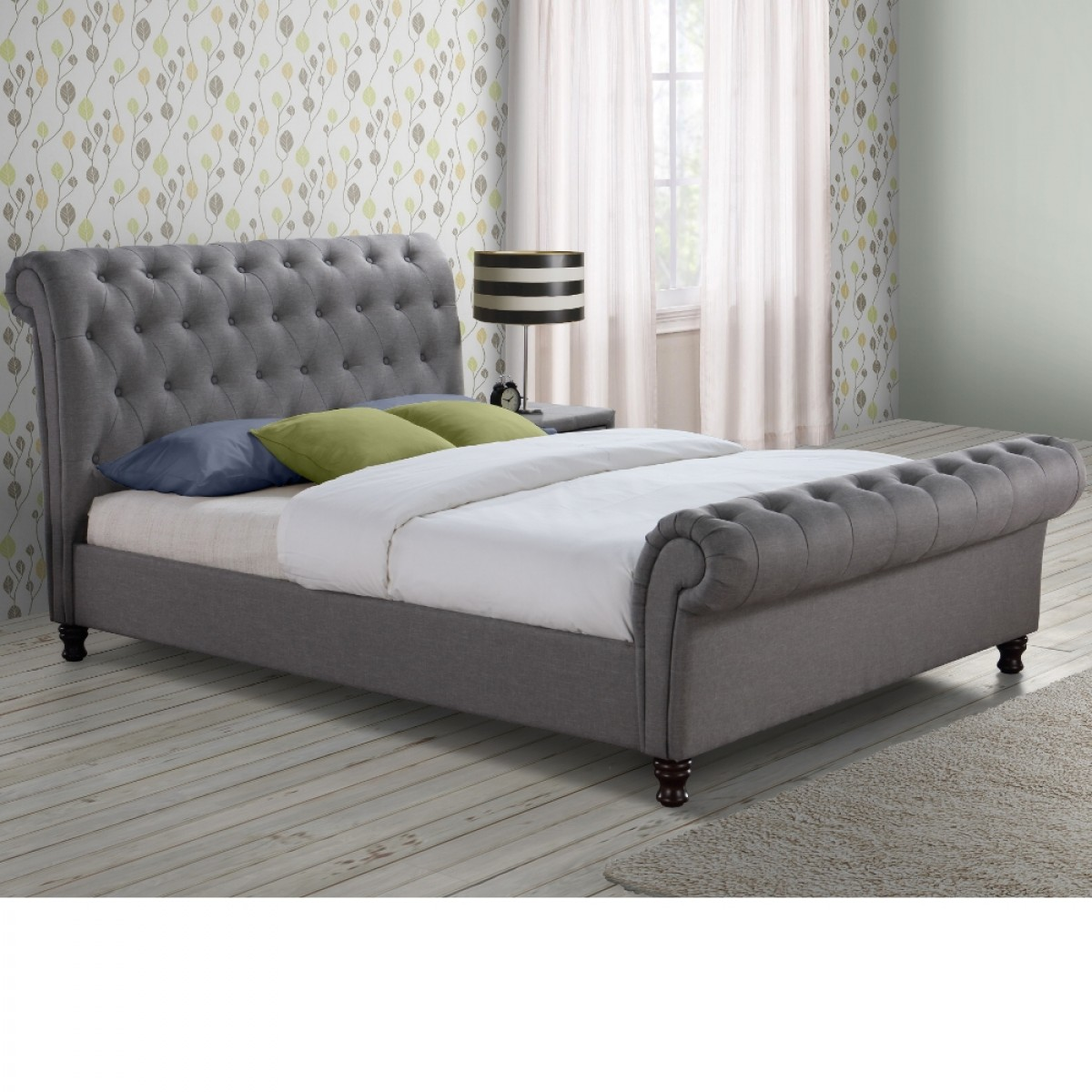 grey upholstered sleigh bed. Grey Upholstered Sleigh Bed E