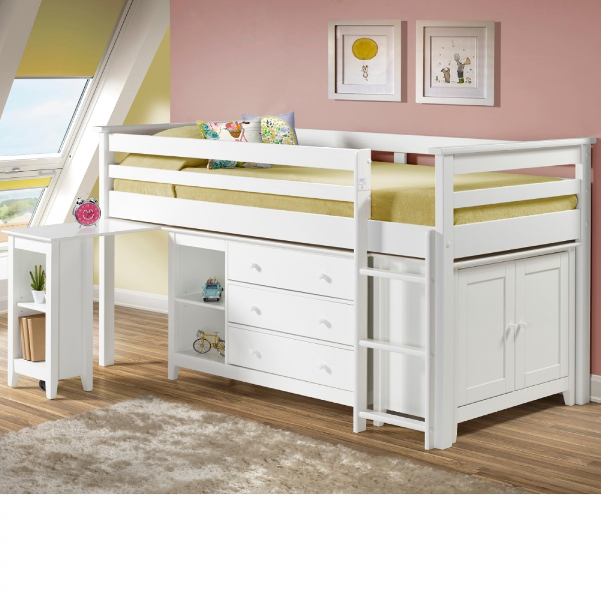 Cotswold White Finish Solid Pine Wooden Kids Mid Sleeper Sleep Station Desk Cabin Storage Bed  sc 1 st  Happy Beds & Cotswold White Finish Solid Pine Wooden Kids Mid Sleeper Sleep ...