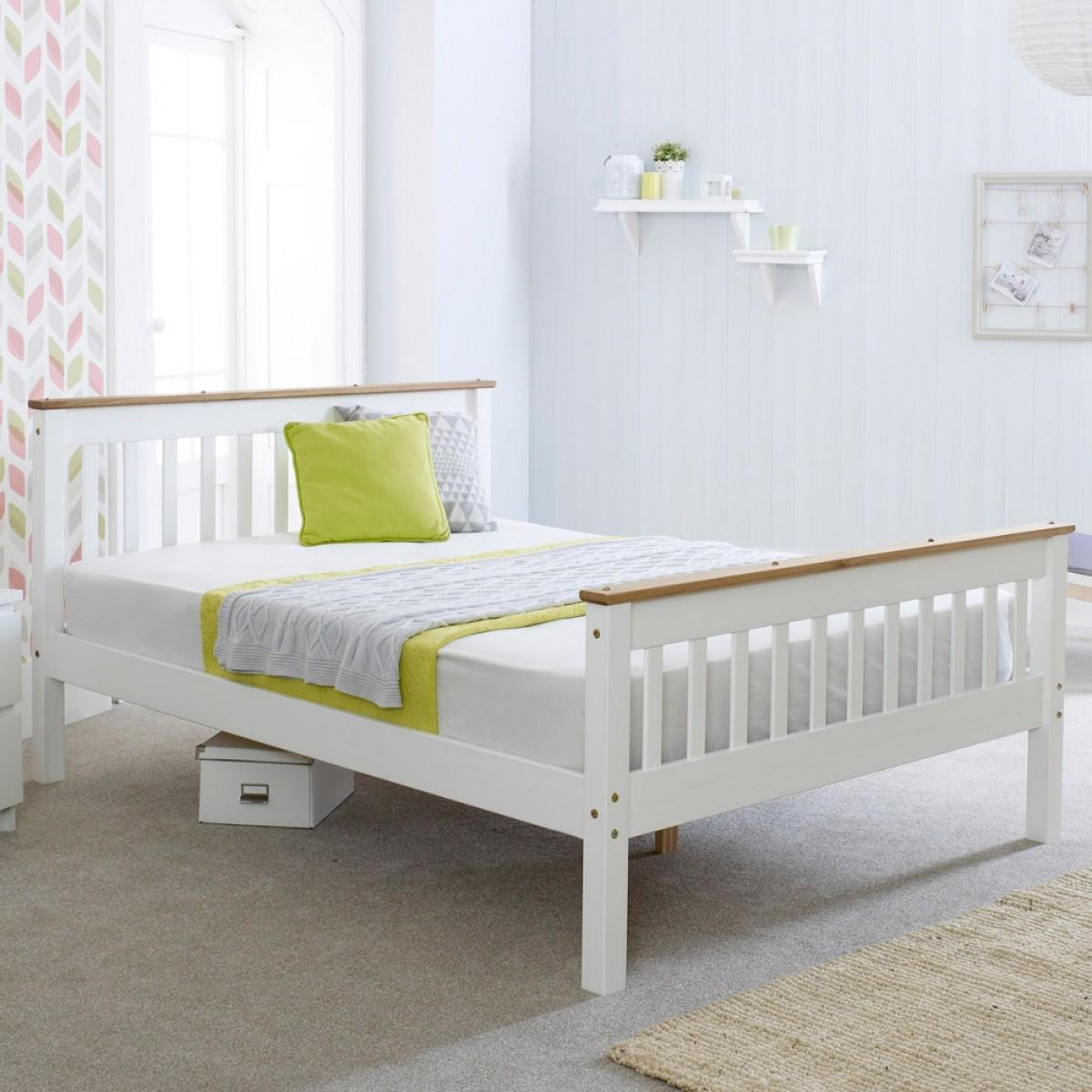 devon white wooden bed. Black Bedroom Furniture Sets. Home Design Ideas