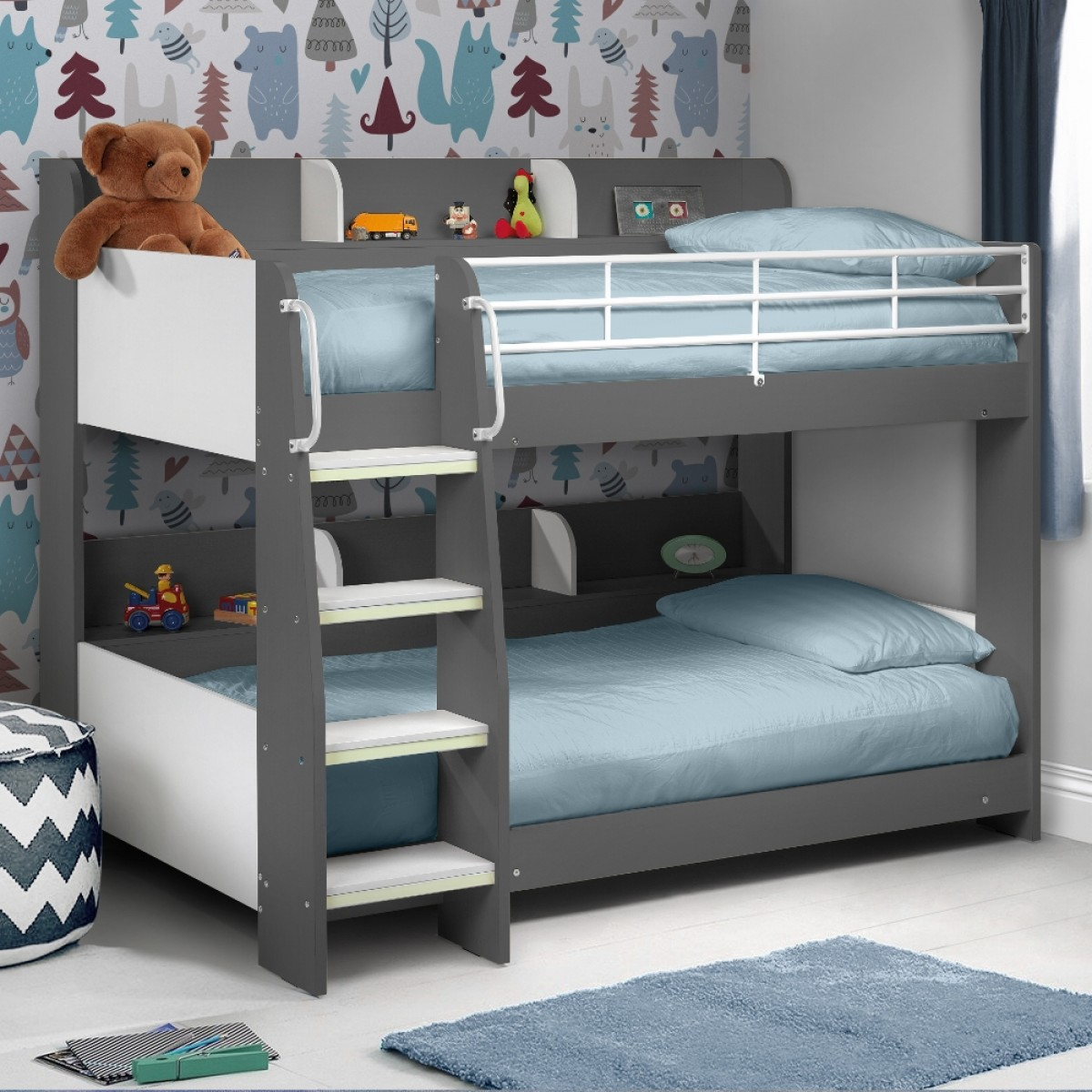 domino grey wooden and metal kids storage bunk bed 11932 | domino grey roomset 1