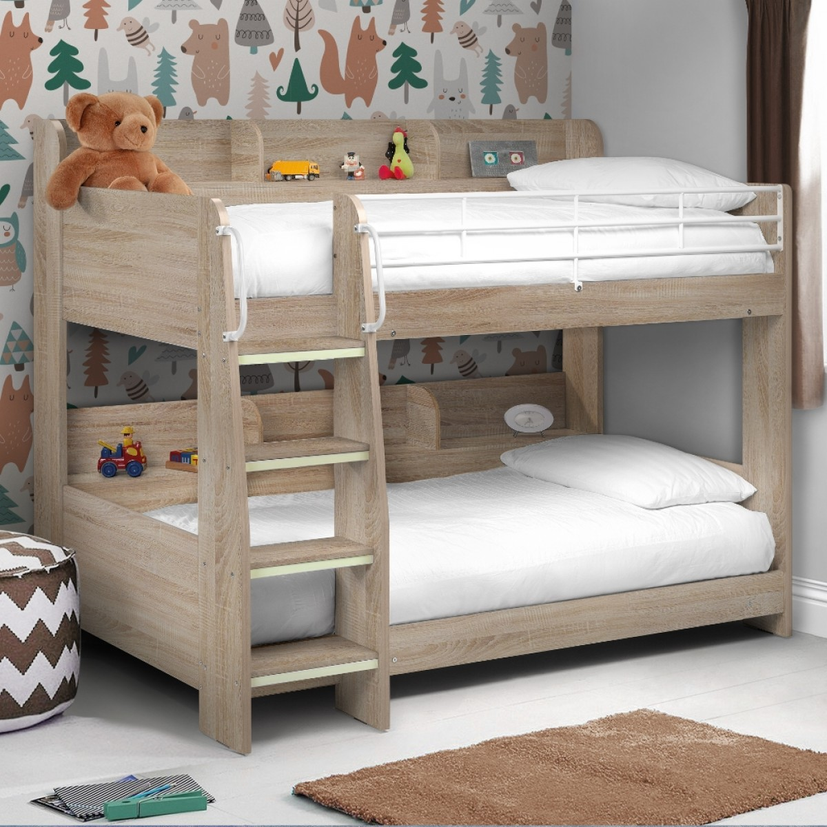 Domino Oak Wooden And Metal Kids Storage Bunk Bed