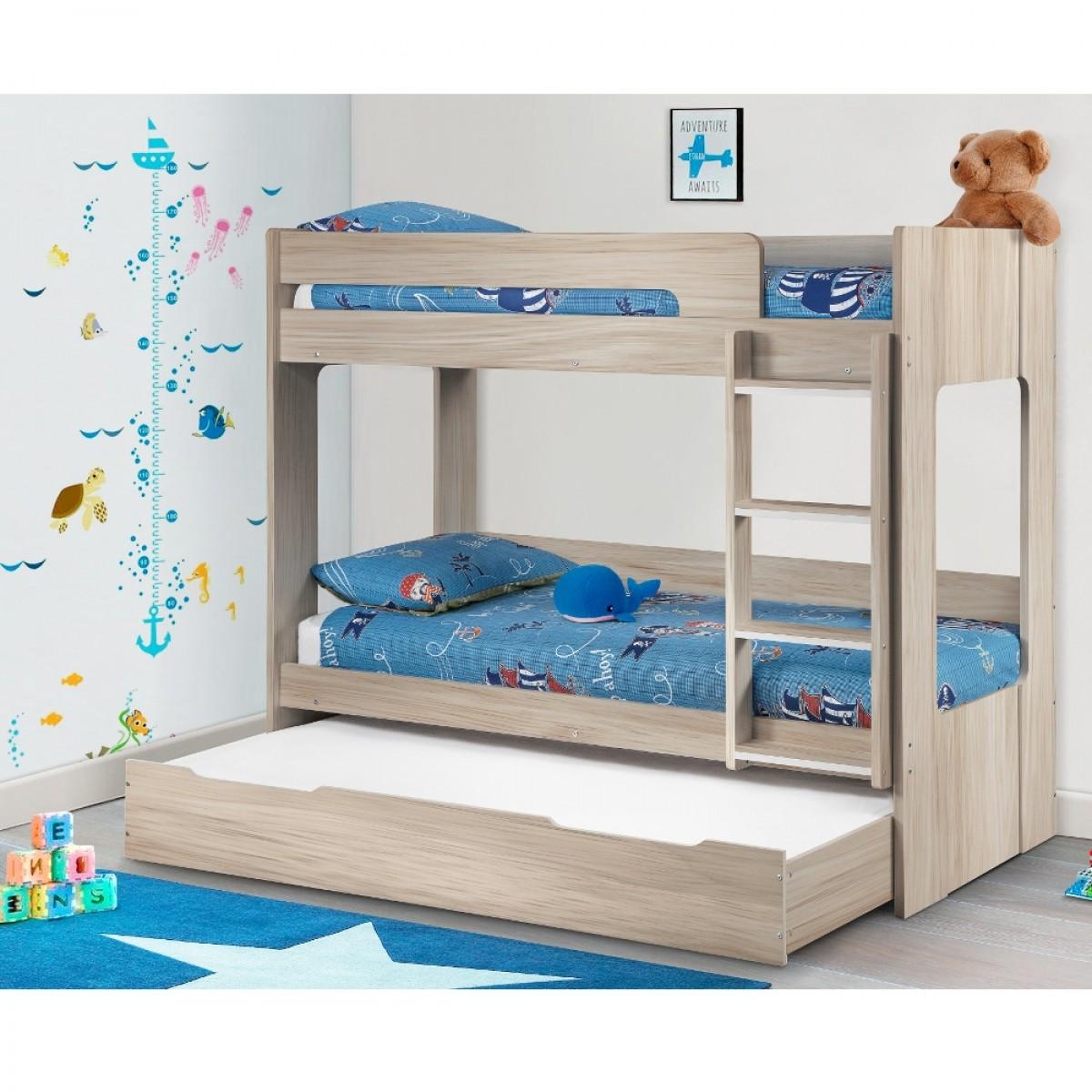 Ellie Oak Wooden Bunk Bed And Trundle Guest Bed Underbed Storage Drawer