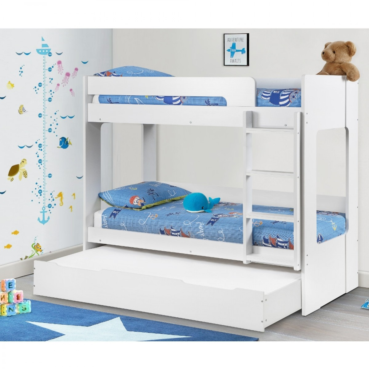 Ellie White Wooden Bunk Bed And Trundle Guest Bed Underbed Storage