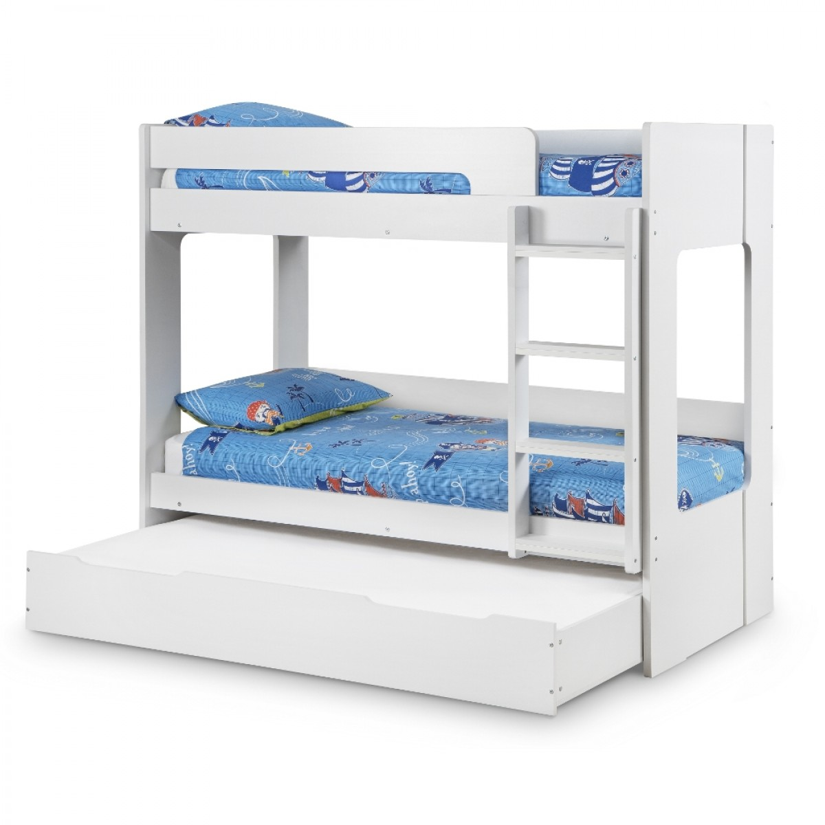 Ellie White Wooden Bunk Bed And Trundle Guest Underbed Storage Drawer