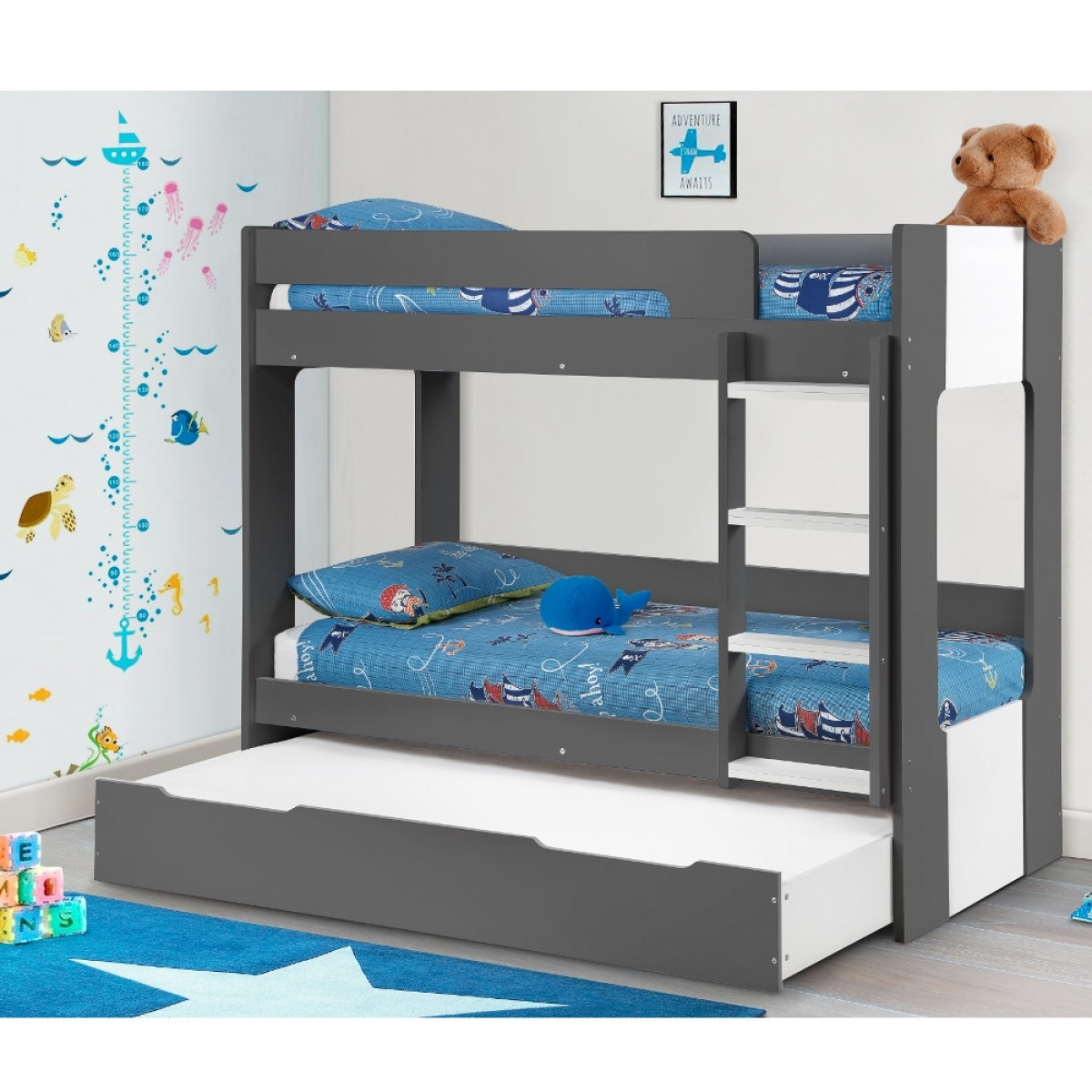 Ellie Grey Wooden Bunk Bed And Trundle Guest Bed Underbed Storage Drawer
