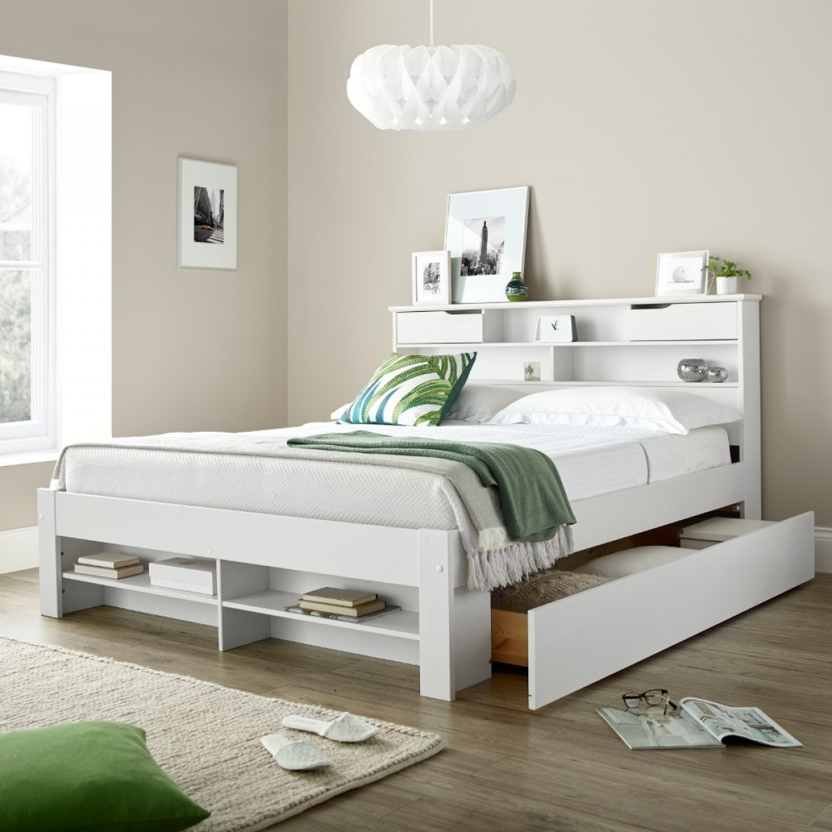 White bookcase storage bed Trundle Tap To Expand Happy Beds Fabio White Wooden Drawer Bookcase Storage Bed