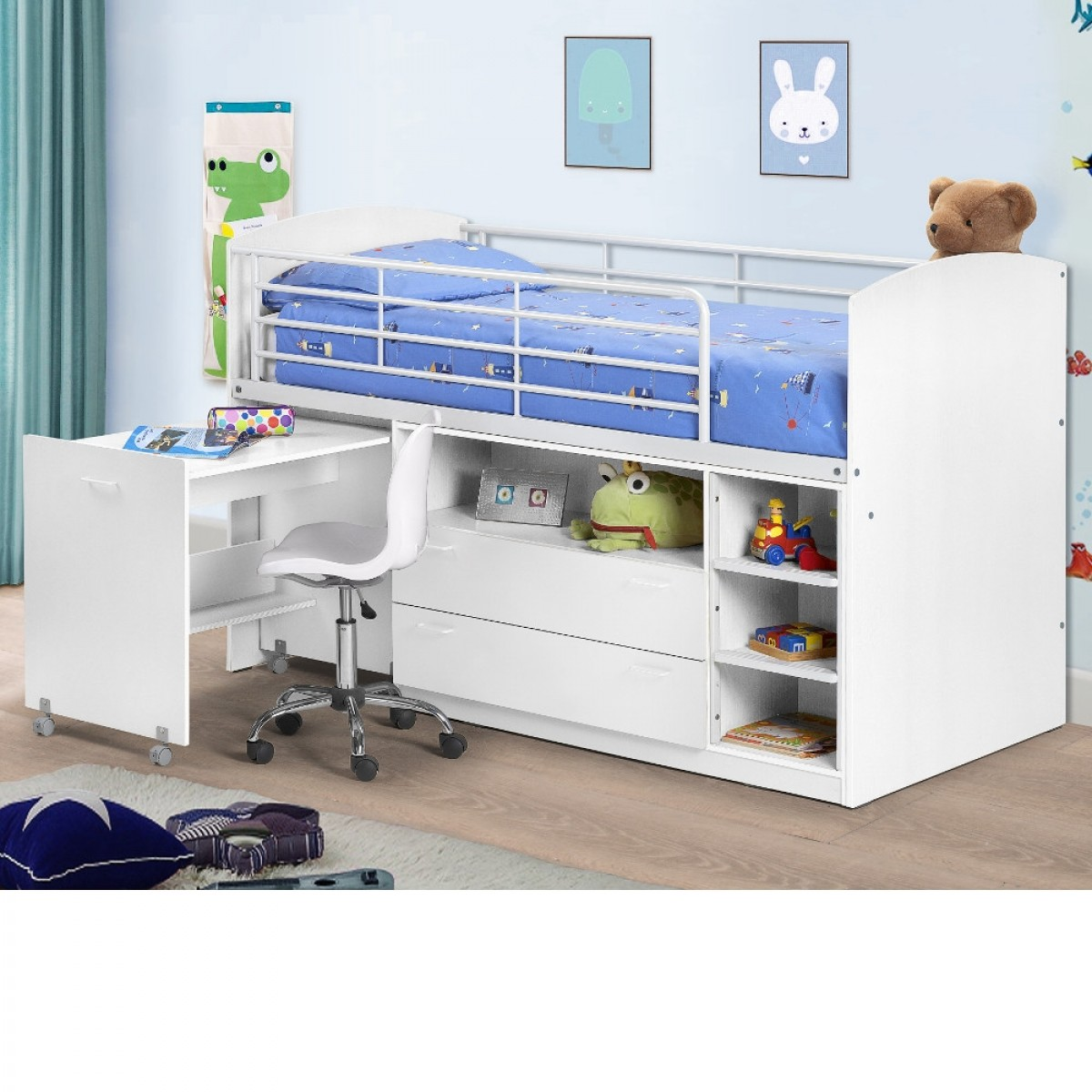 Leo White Wooden And Metal Kids Mid Sleeper Sleep Station Desk Cabin