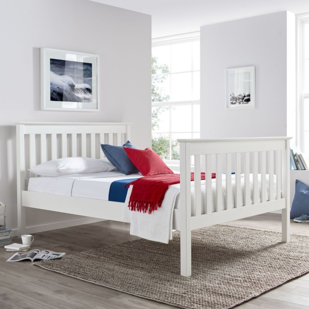Lisbon White Finish Solid Pine Wooden Bed Frame 4ft Small Double