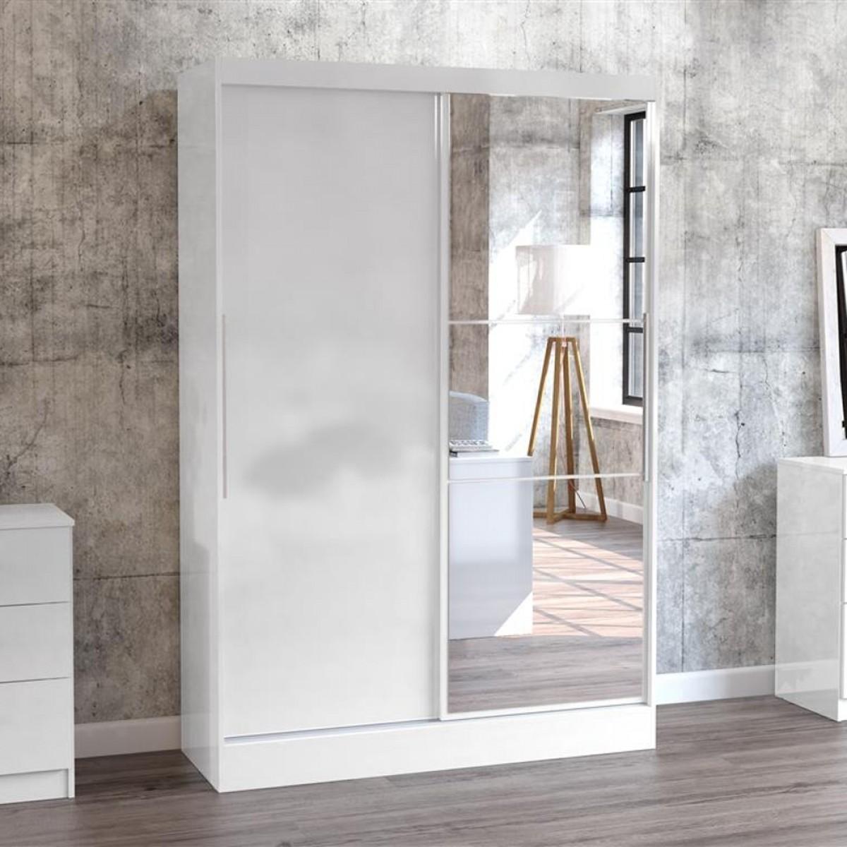 Lynx 2 door sliding mirrored wardrobe white