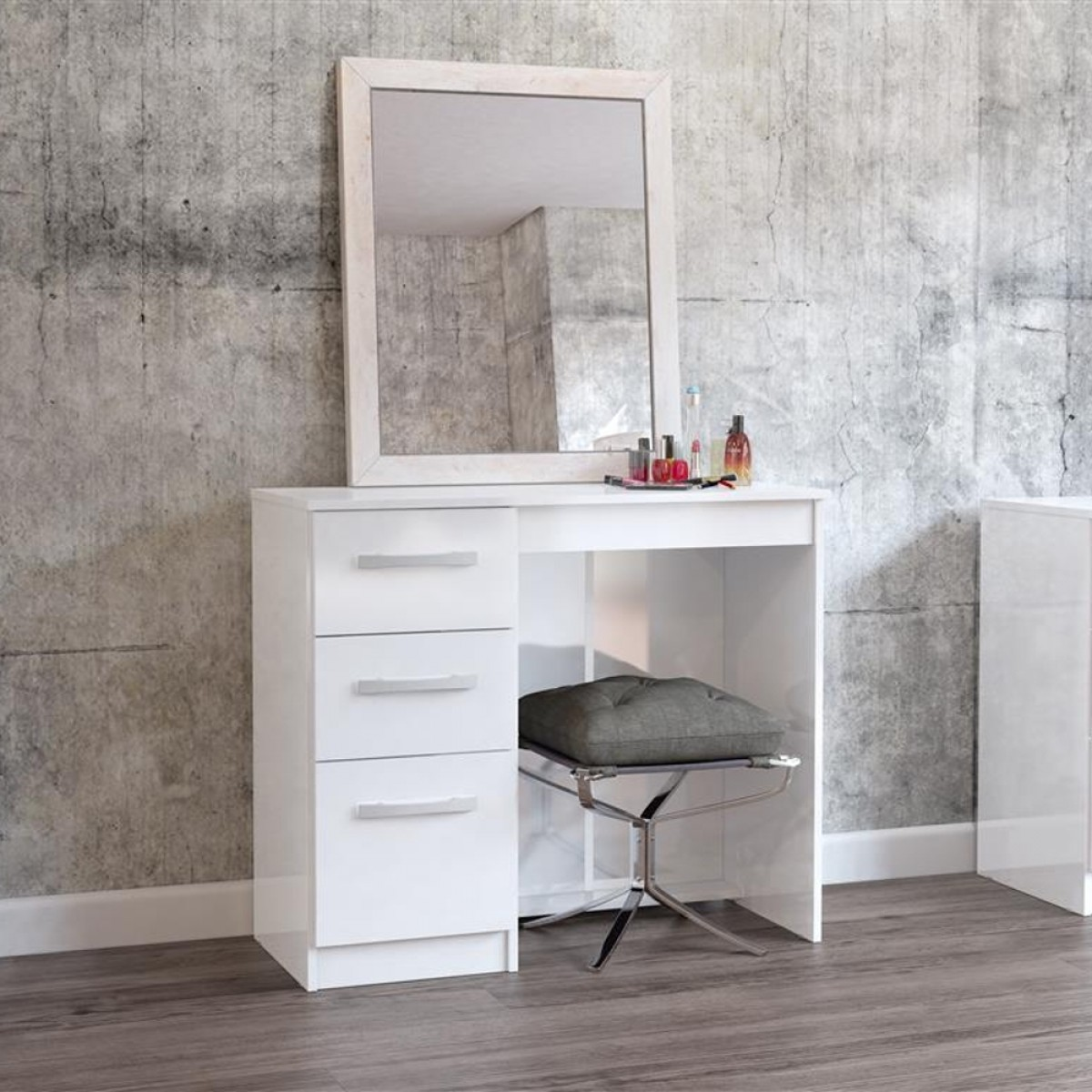 lynx 3 drawer dressing table white. Black Bedroom Furniture Sets. Home Design Ideas