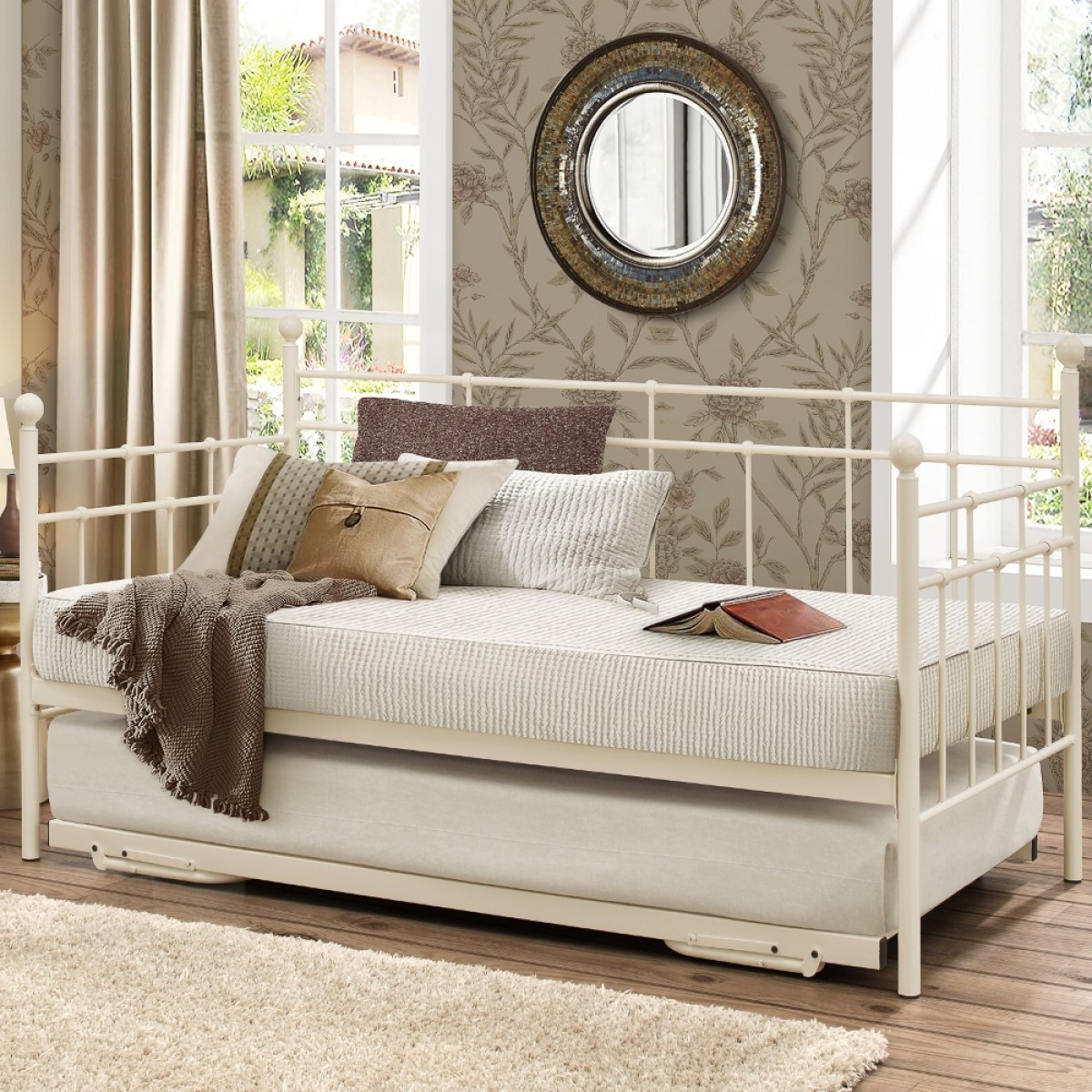 lyon cream metal guest bed with trundle. Black Bedroom Furniture Sets. Home Design Ideas