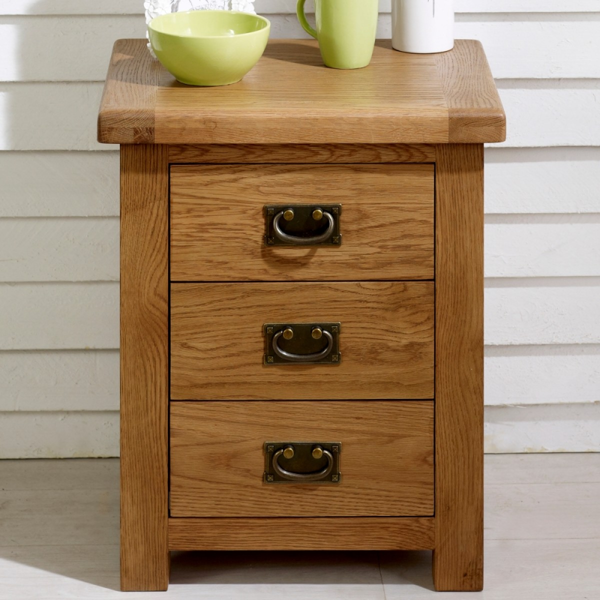 malvern oak 3 drawer bedside table. Black Bedroom Furniture Sets. Home Design Ideas
