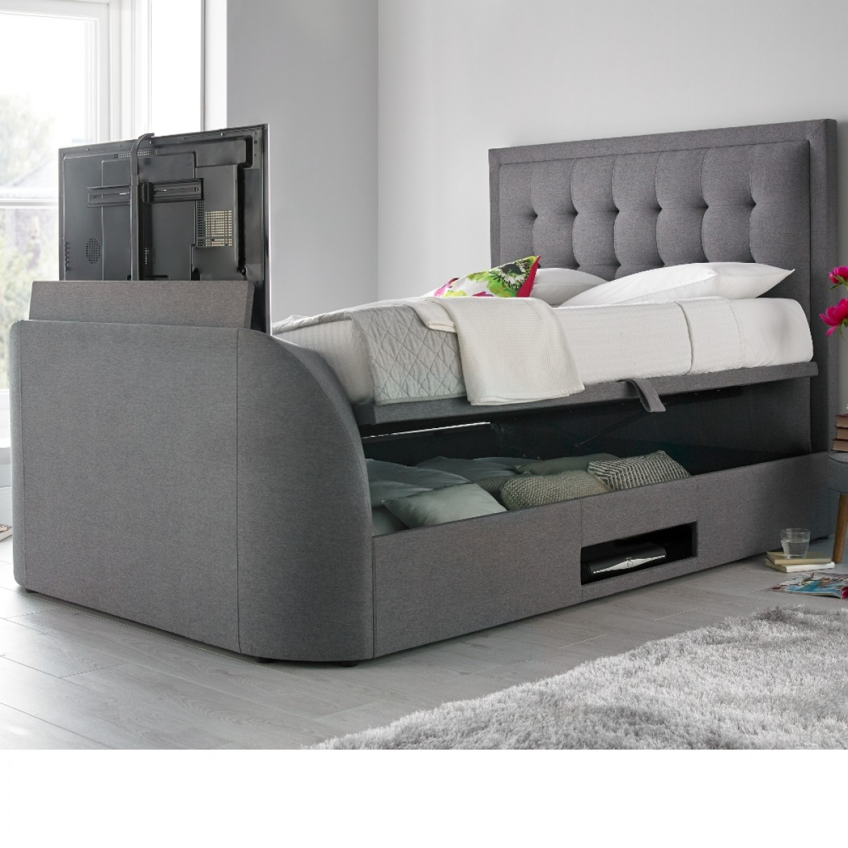 Metro Grey Fabric Ottoman Tv Bed