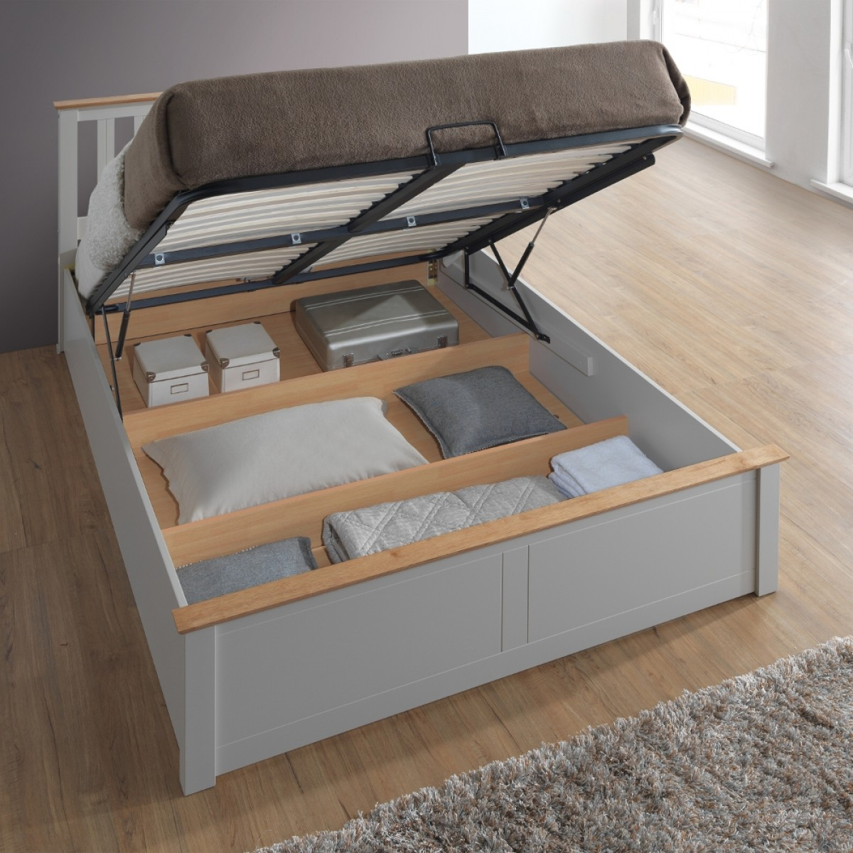 Wooden Beds With Storage ~ Phoenix pearl grey wooden ottoman storage bed