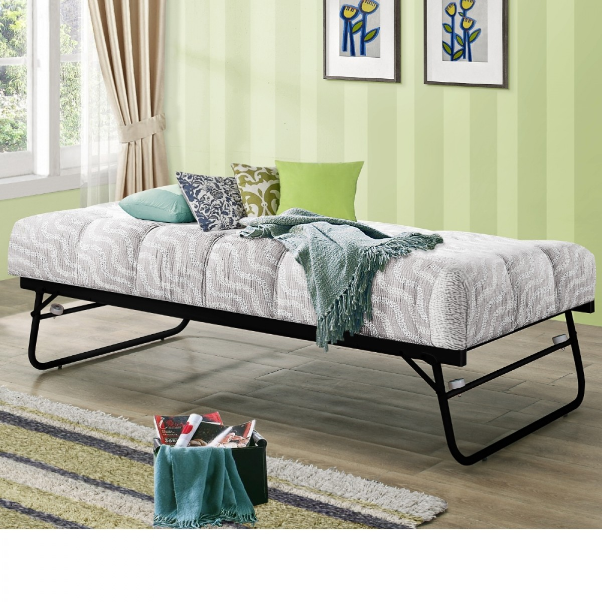 Trundle black guest bed