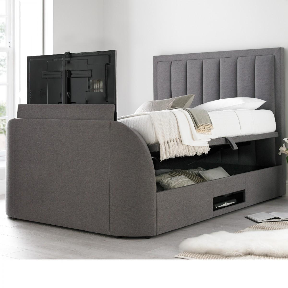 Ventura Grey Fabric Ottoman TV Bed
