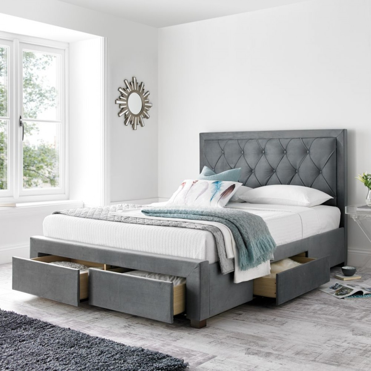 woodbury grey fabric 4 drawer storage bed frame 6ft. Black Bedroom Furniture Sets. Home Design Ideas