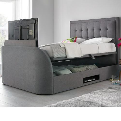 Metro Grey Fabric Ottoman Tv Bed