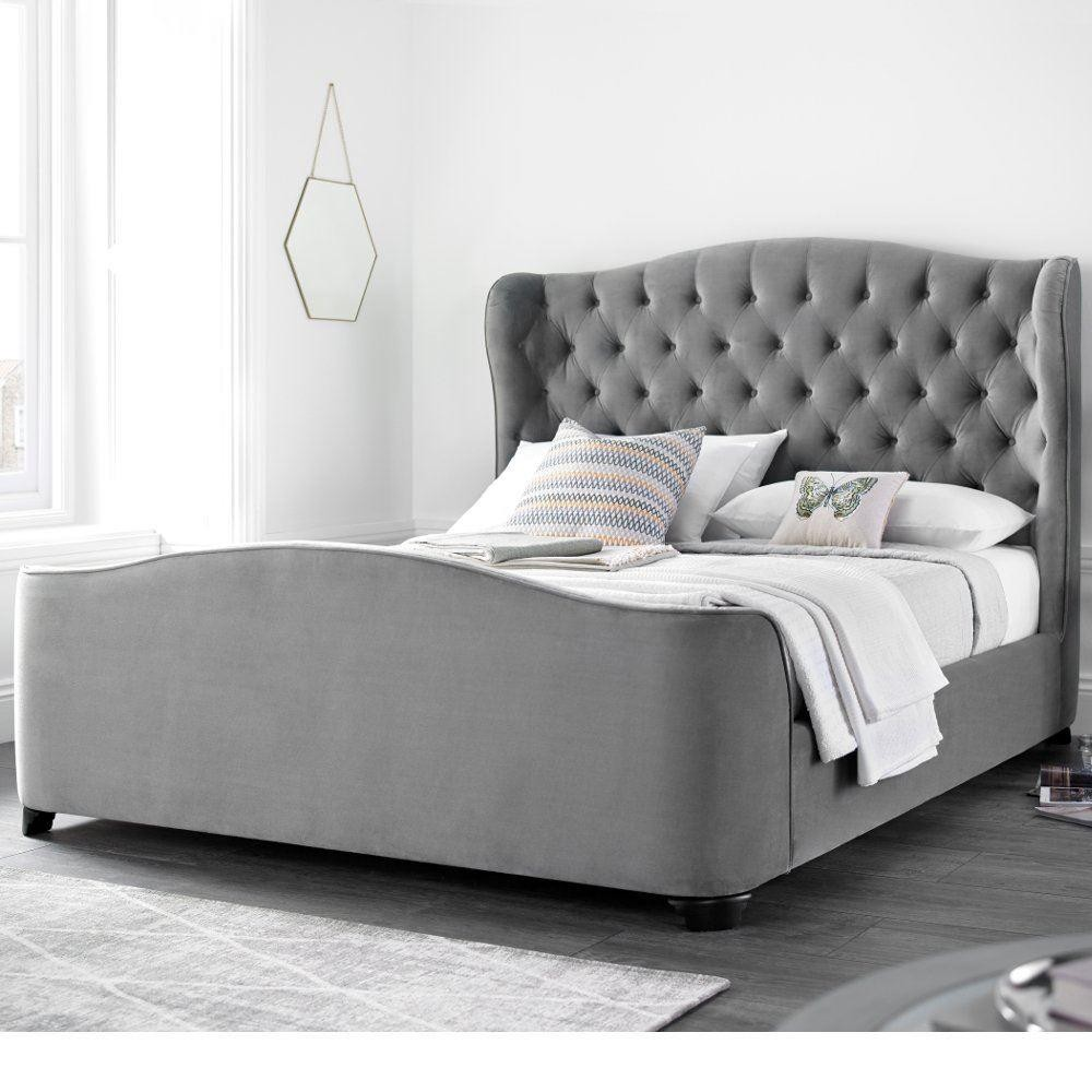 with grey winged buttons or beds upholstered the headboard amelie uk in handmade diamontes