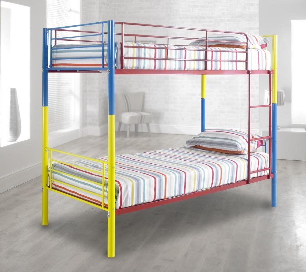 Rainbow Multi Coloured Metal Kids Bunk Bed