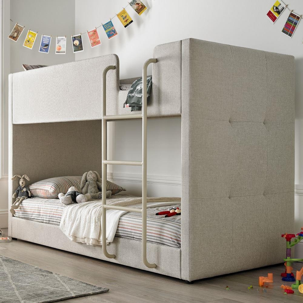 Saturn Oatmeal Fabric Bunk Bed