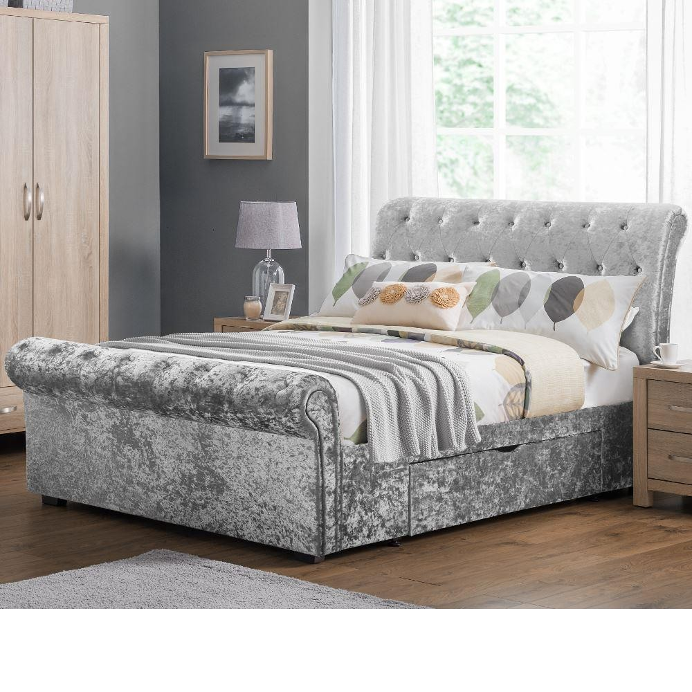 verona silver crushed velvet 2 drawer storage bed. Black Bedroom Furniture Sets. Home Design Ideas