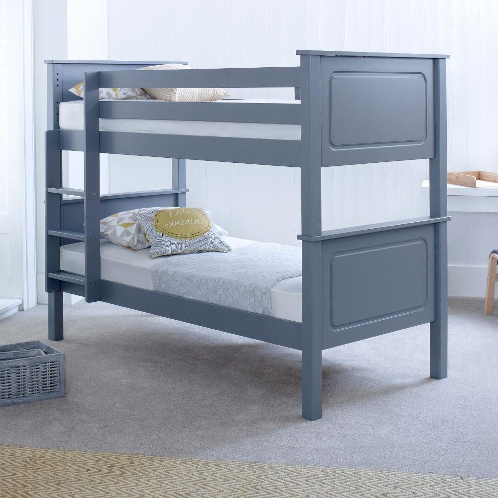 Vancouver grey solid pine wooden bunk bed frame for Bunk bed with double on bottom
