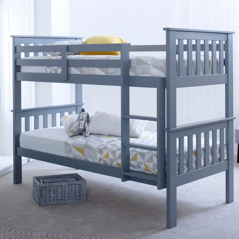 Atlantis grey wooden bunk bed frame for Bunk bed frame with mattress