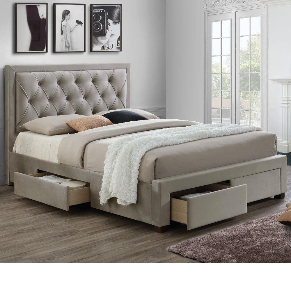 woodbury warm stone fabric 4 drawer storage bed. Black Bedroom Furniture Sets. Home Design Ideas