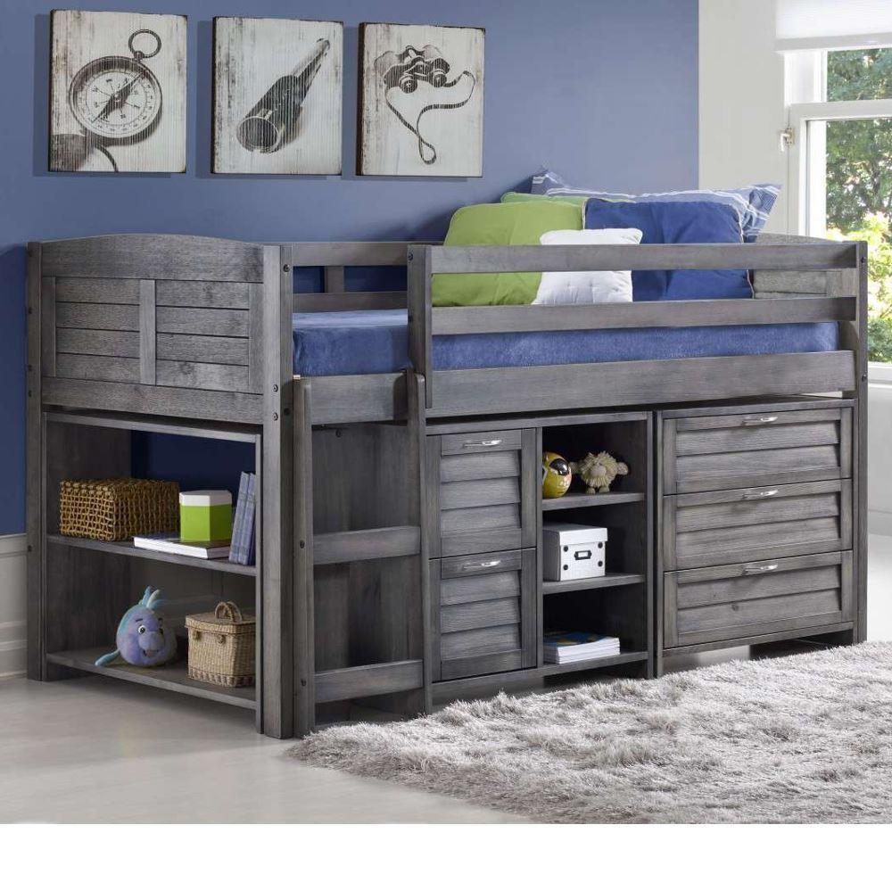 cosy grey wooden mid sleeper storage bed. Black Bedroom Furniture Sets. Home Design Ideas